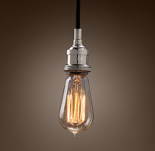 20th c factory filament bare bulb single pendant. Black Bedroom Furniture Sets. Home Design Ideas