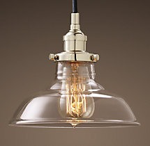 20th C. Factory Filament Clear Glass Barn Pendant