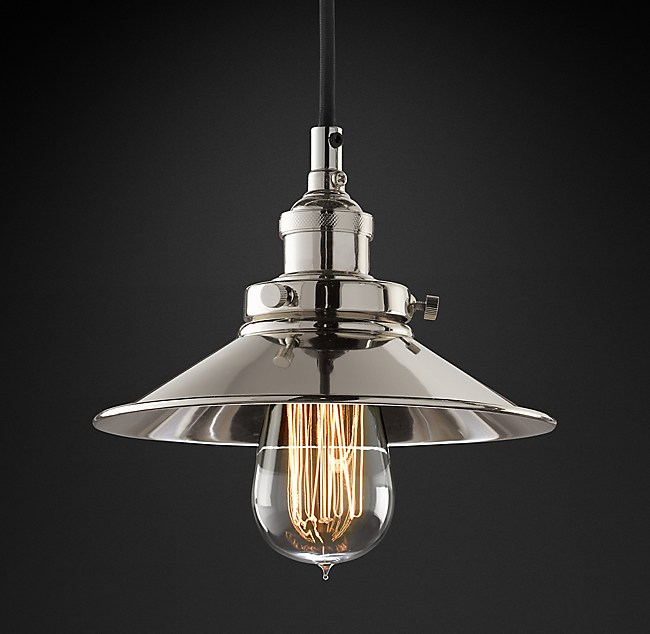 20th C Factory Filament Metal Single Pendant