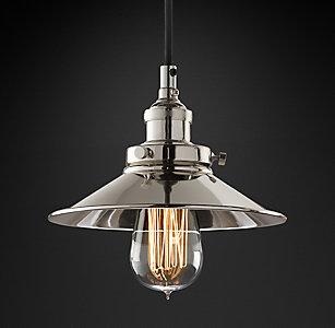 Kitchen utility pendants rh 20th c factory filament metal shade pendant aloadofball Images