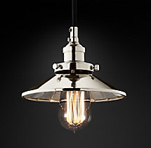 20th C. Factory Filament Reflector Single Pendant