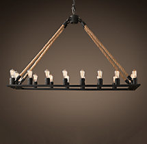 Rope Filament Rectangular Chandelier 59""