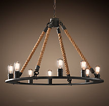Rope Filament Round Chandelier 42""