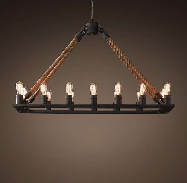 Rope Filament Rectangular Chandelier 49