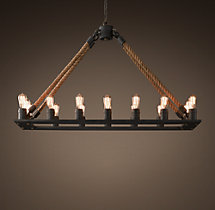 Rope Filament Rectangular Chandelier 49""