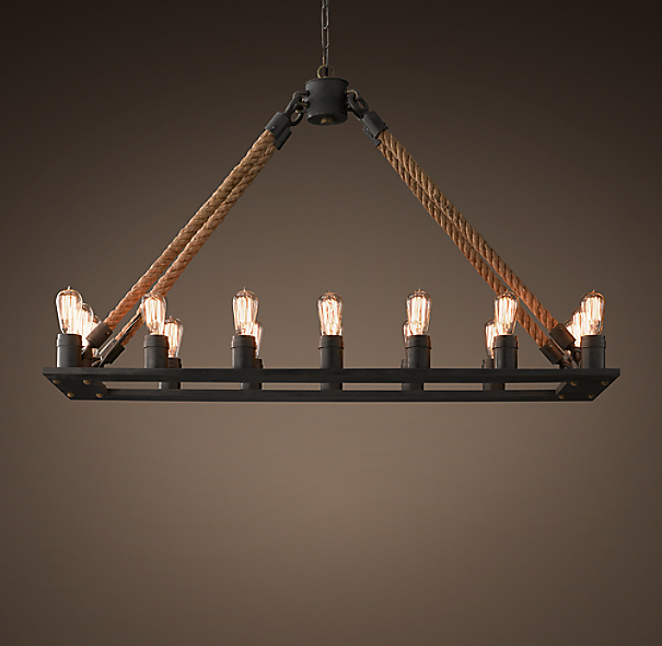 rope filament rectangular chandelier 49. Black Bedroom Furniture Sets. Home Design Ideas