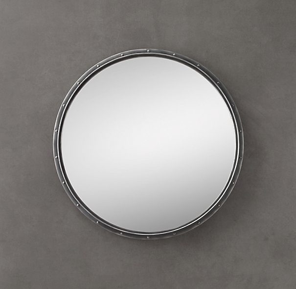 Antiqued riveted mirror round for Restoration hardware round mirror