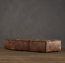 Chelsea Leather Coffee Ottoman