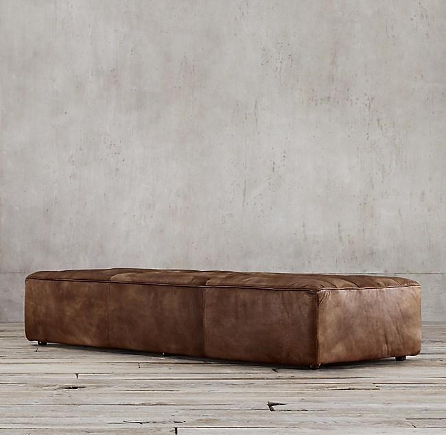 Chelsea Leather Coffee Ottoman