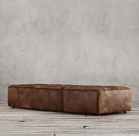 Ottomans RH - Tan leather ottoman coffee table