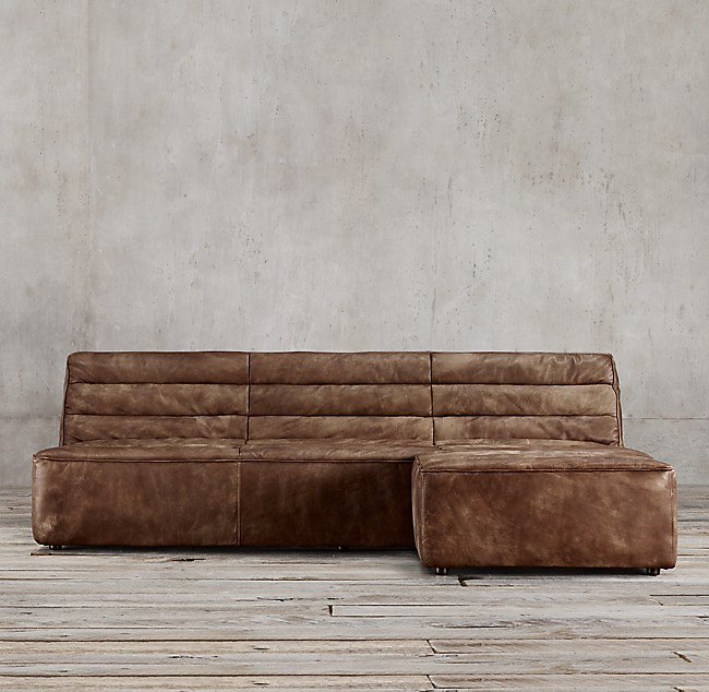 Preconfigured Chelsea Leather Right-Arm Sofa Chaise Sectional