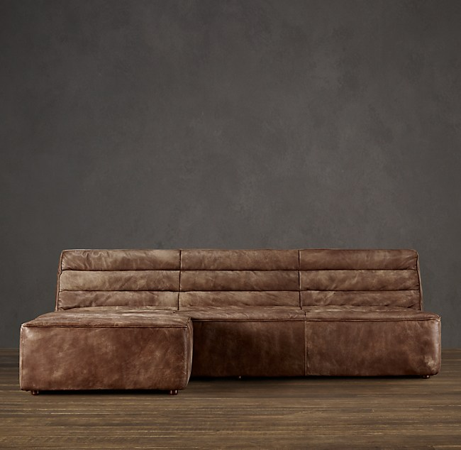 Preconfigured Chelsea Leather Left-Arm Sofa Chaise Sectional