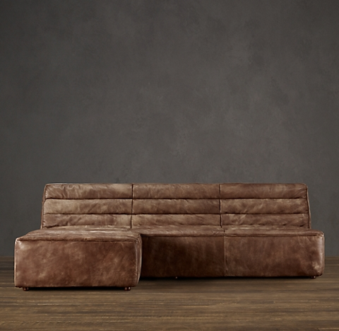 Chelsea Leather Left Arm Sofa Chaise Sectional