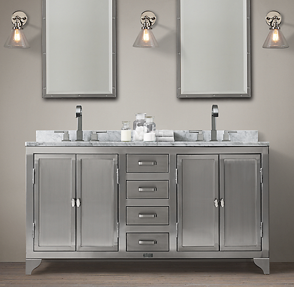 1930s Laboratory Stainless Steel Double Vanity