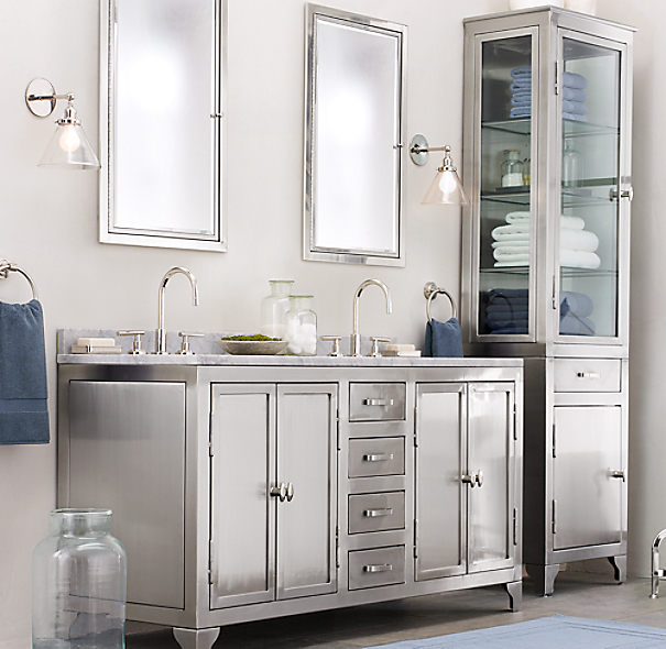 Restoration Hardware Bathroom Vanity Knockoff: 1930s Laboratory Stainless Steel Double Vanity