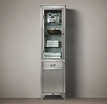 1930s laboratory stainless steel tall bath cabinet 22 w x 16 d x
