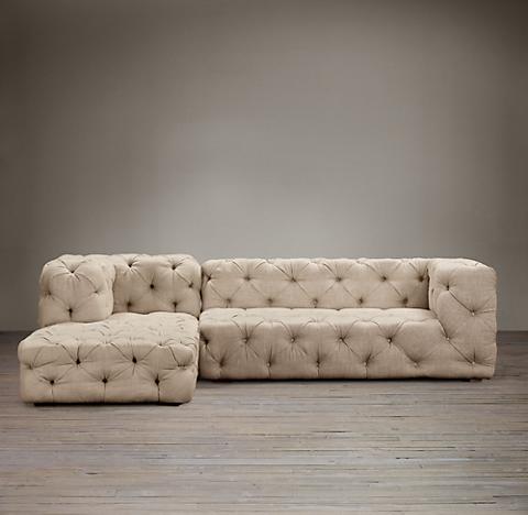 Preconfigured Soho Tufted Left Arm Sofa Chaise Sectional