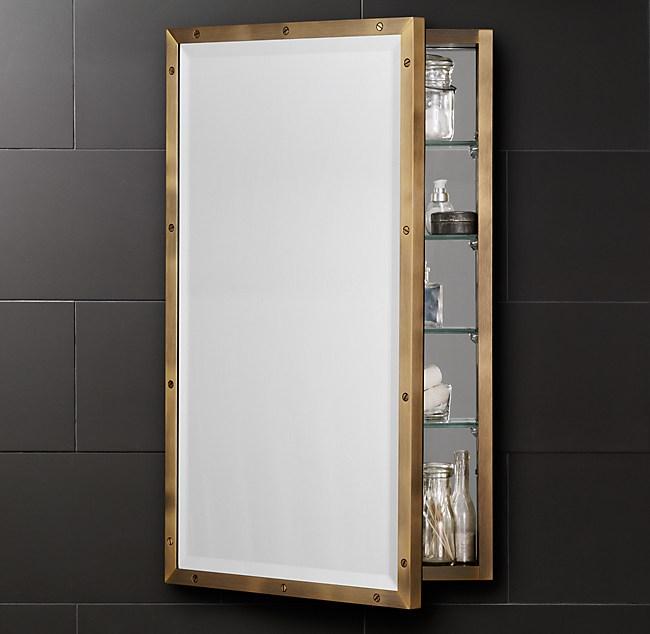 Rivet Wall Mount Medicine Cabinet Antiqued Brass