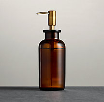 Pharmacy Amber Glass Soap Dispenser