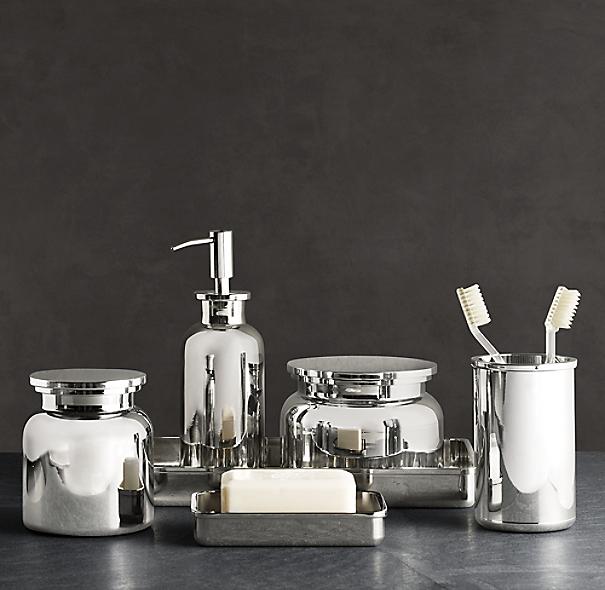 Pharmacy metal bath accessories for Restoration hardware bathroom accessories