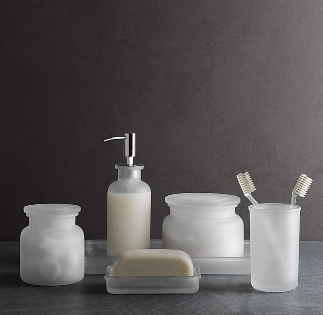 Bathroom Accessories Restoration Hardware frosted glass bath accessories