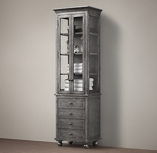 Annecy metal wrapped tall bath cabinet - Restoration hardware cabinets ...