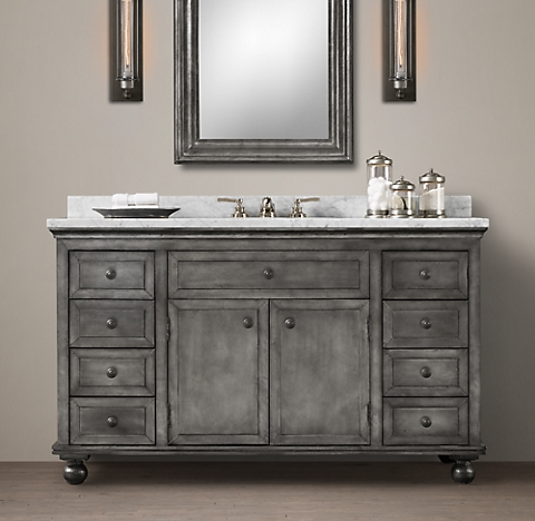 Beautiful Find This Pin And More On For The Home Bathroom Remodel Restoration Hardware Hack  Mercantile Console Table Hacked Into A Double Vanity Vessel Sinks &amp Faucet From Lowes Tilt Mirrors &amp Edison Sconces From Amazon Copper