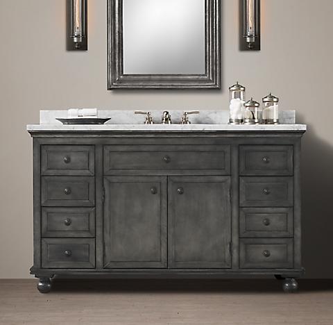 Zinc Bathroom Vanity annecy metal-wrapped bath collection - zinc | rh