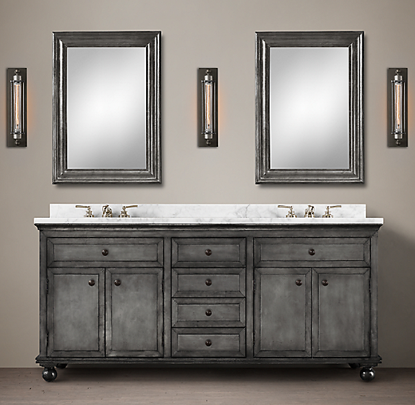 Restoration Hardware Bathroom Vanity Knockoff: Annecy Metal-Wrapped Double Vanity