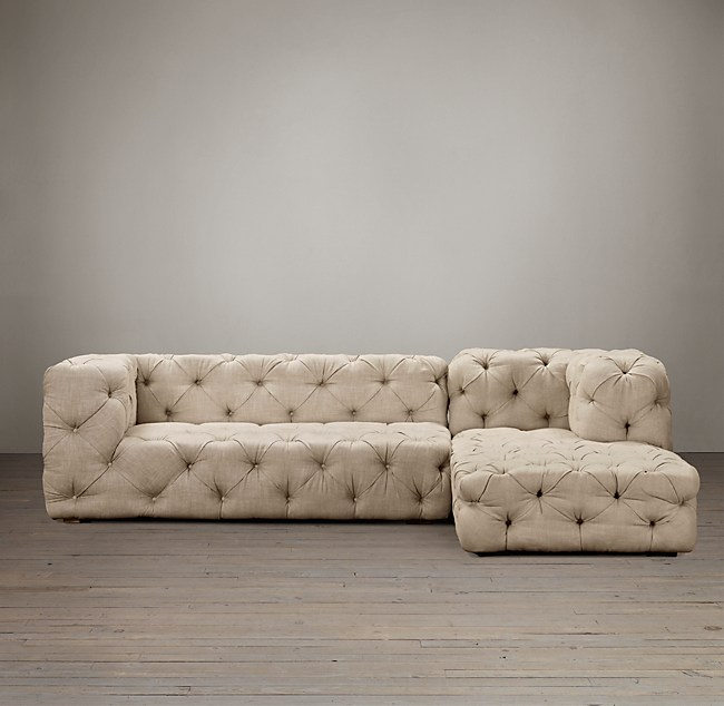 Preconfigured Soho Tufted Right-Arm Sofa Chaise Sectional
