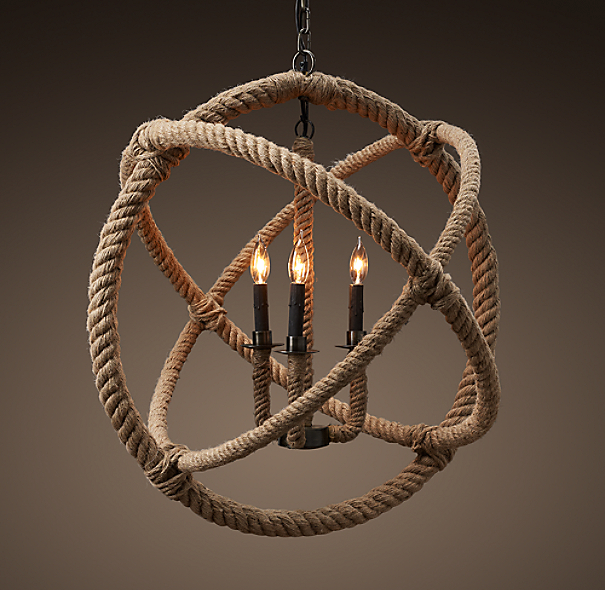 Restoration Hardware Light Fixture Sale: Rope Planetarium Chandelier Medium