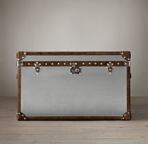 Mayfair Steamer Trunk Tall Coffee Table - Brushed Steel
