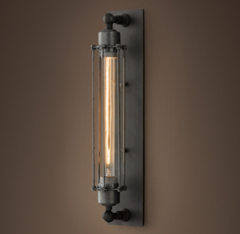 Industrial Bathroom Wall Sconces : Grand Edison Caged Sconce