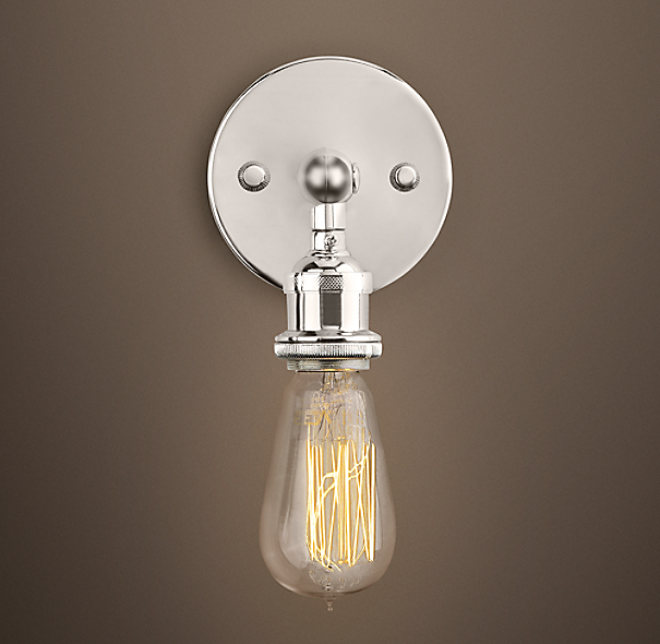 Restoration Hardware Replacement Light Bulbs: 20th C. Factory Filament Bare Bulb Sconce