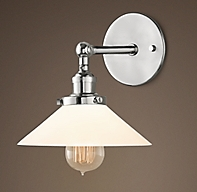 20th c factory filament milk glass sconce Restoration hardware bathroom lighting