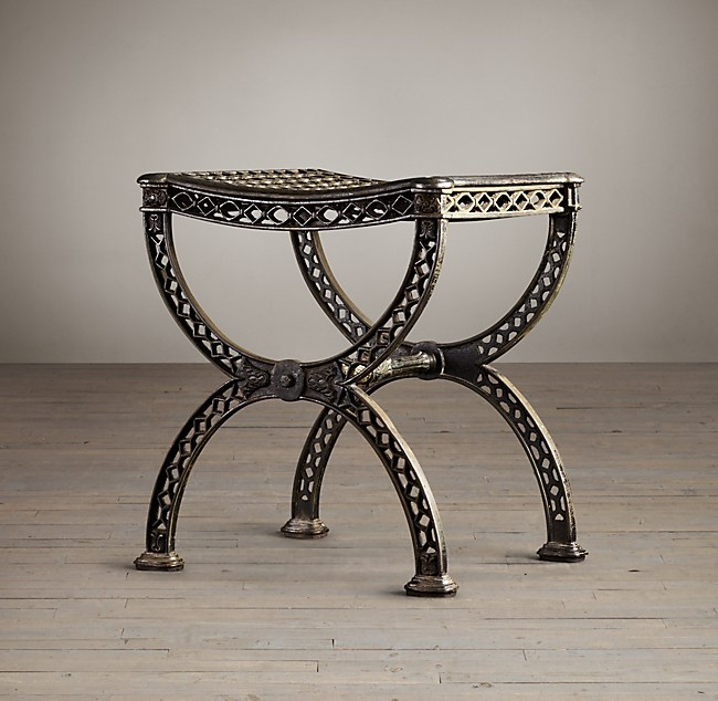 19th c french filigree stool for Restoration hardware metal chair