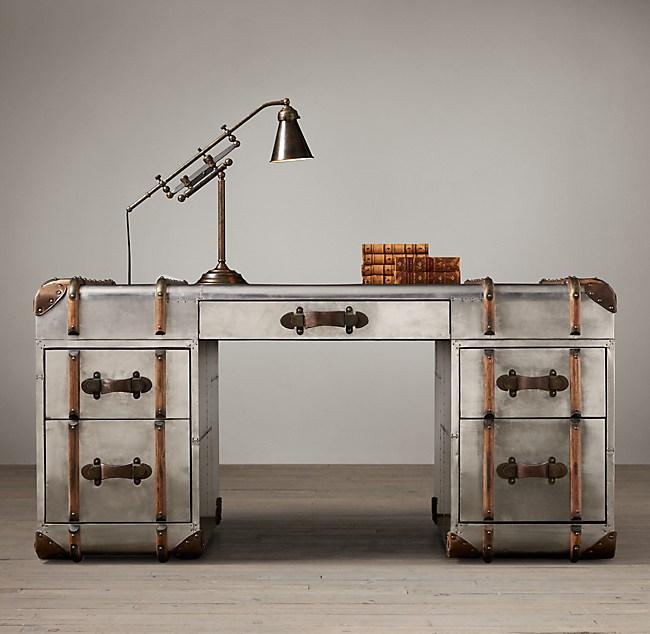 Richards Trunk Desk Polished Aluminum