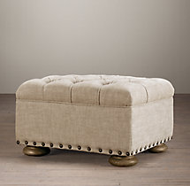 Churchill Upholstered Ottoman With Nailheads