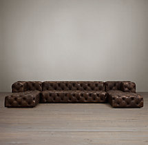 Preconfigured Soho Tufted Leather U-Chaise Sectional