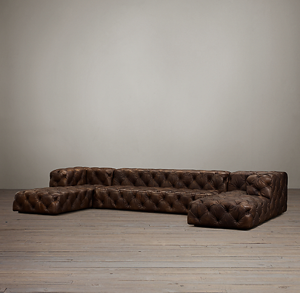 Preconfigured Soho Tufted Leather U Chaise Sectional