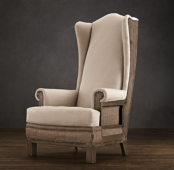 Deconstructed Highback Wing Chair Antiqued Cotton