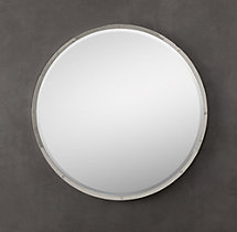 Bistro Polished Nickel Round Mirror