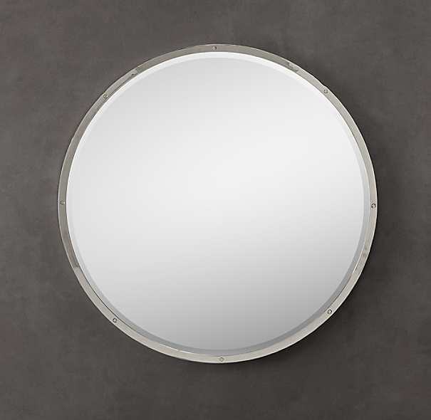 Bistro polished nickel round mirror for Restoration hardware round mirror