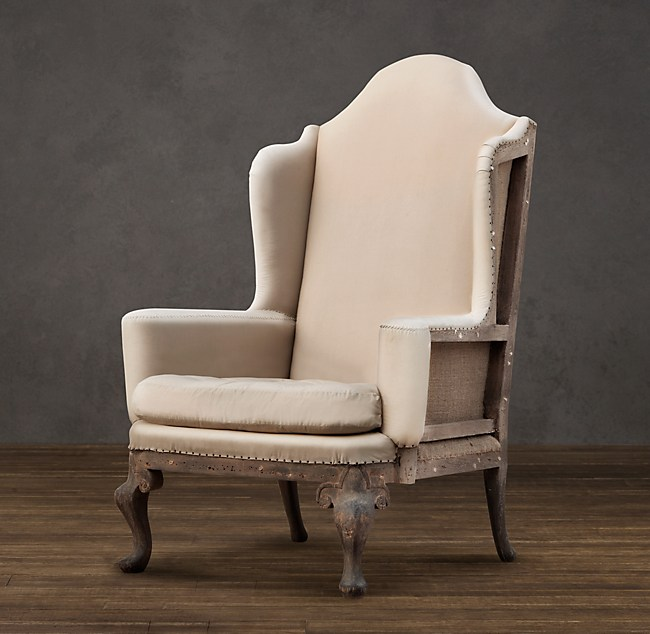Deconstructed Queen Anne Wingback Chair Antiqued Cotton