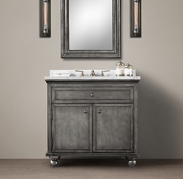 Restoration Hardware Bathroom Vanity Knockoff: Annecy Metal-Wrapped Single Vanity