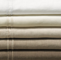 Stonewashed Belgian Linen Satin-Stitch Bedding Swatch