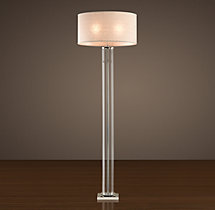 French Column Glass Floor Lamp