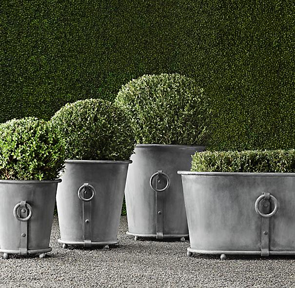 Estate Zinc Ring Round Planters