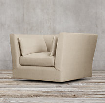 Belgian Shelter Arm Upholstered Swivel Chair