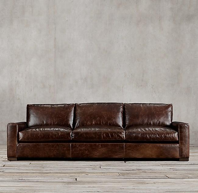 Maxwell Leather Sofa: Maxwell Leather Three-Seat-Cushion Sofa